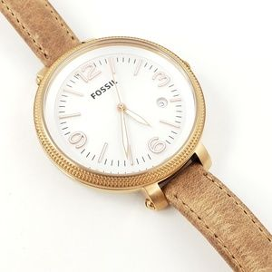Fossil Watch Thin Tan Leather Band